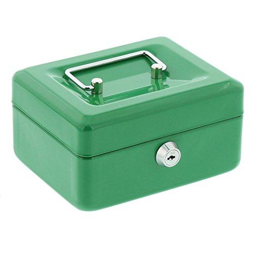 BURG-WÄCHTER, Geldkassette Money 5015, Stahlblech, Grün, Inkl. 2 Schlüssel und Hartgeldeinsatz