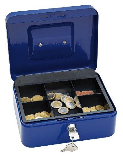Wedo 145203X Geldkassette (aus pulverbeschichtetem Stahl, versenkbarer Griff, 5-Fächer-Münzeinsatz, Sicherheits-Zylinderschloss, 20 x 16 x 9 cm) blau