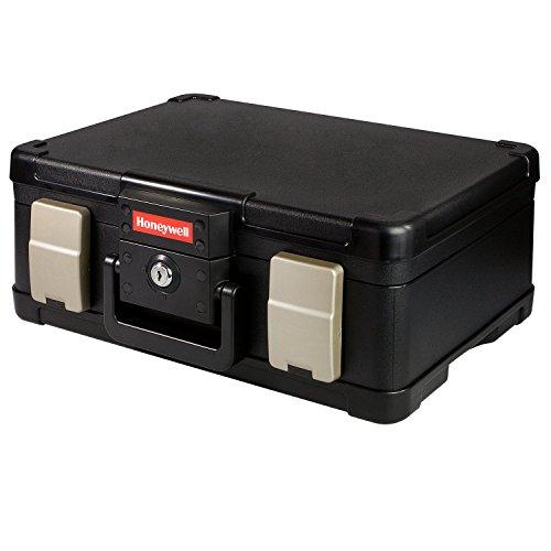 Honeywell Feuerfeste wasserdichte Dokumentenbox Geldkassette 40,7 x 32,0 x 16,6 cm, DIN A4, schwarz