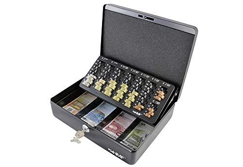 HMF 10015-02 Geldkassette mit Münzzählbrett 30 x 24 x 9 cm, schwarz