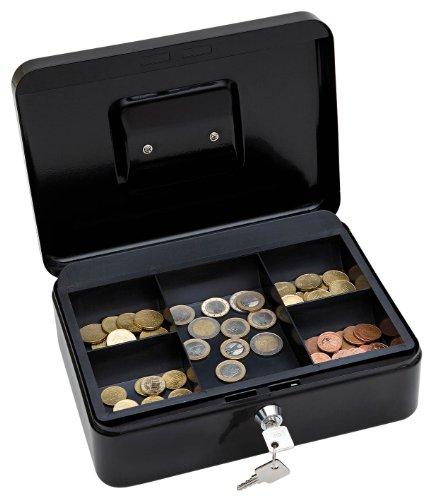 Wedo 145321X Geldkassette (aus pulverbeschichtetem Stahl, versenkbarer Griff, 5-Fächer-Münzeinsatz, Sicherheits-Zylinderschloss, 25 x 18 x 9 cm) schwarz