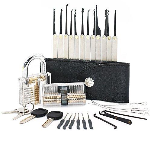 JTENG Professionelles Set Lockpicking/Nachschließen 15-teiliges Pick Set/Dietriche Set mit 2 Transparentem Trainingsschlössern Für Schlosserei, Schlüsseldienst, Polizei oder Hobby